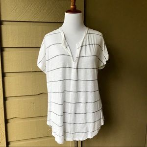 Madewell White and Black Striped Blouse Size M